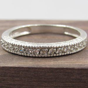 Size 10.75 Sterling Silver Simple CZ Diamond Band